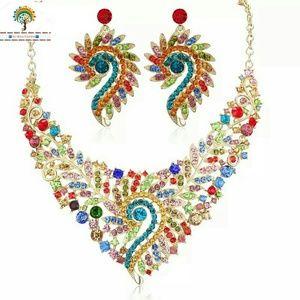 🆕Gorgeous Multi Color Crystal Choker Necklace Set